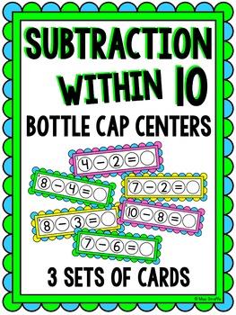 Subtraction within 10 Bottle Cap Math Centers