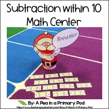 Subtraction within 10 Christmas Math Center (Hungry, Hungry Santa)