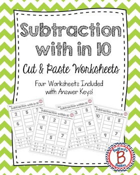 Subtraction within 10 Cut and Paste