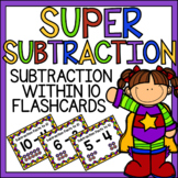 Subtraction within 10 Flashcards Superhero Theme