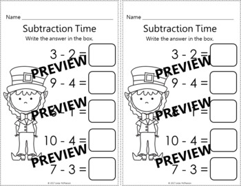 Subtraction within 10 Interactive Math Game {Dancing Leprechaun}