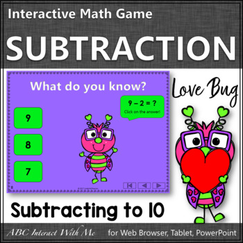 Subtraction within 10 Interactive Math Game {Love Bug}