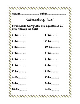 Subtraction within 10 Mad Minutes
