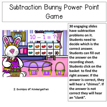 Subtraction within 10 Power Point Game (bunny theme)