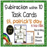 Subtraction within 10 ~ St. Patrick's Day Math Center ~ Task Cards