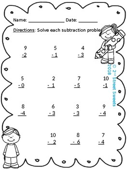 Subtraction within 10 activity