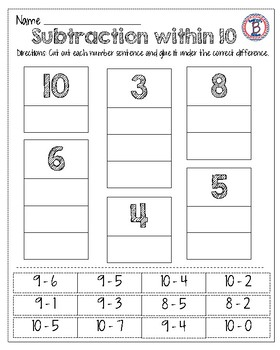Subtraction within 10 and 20 Pack!