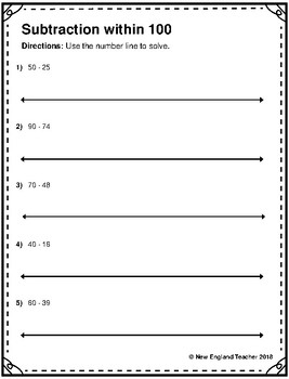Subtraction within 100 on the Number Line Worksheets