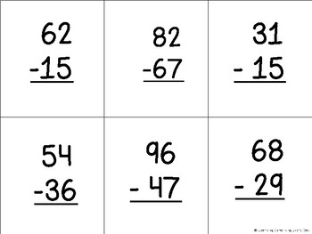 Subtraction within 100 with regrouping 5 in a Row Game