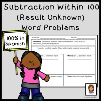 Subtraction within 100 word problems (2nd grade math) Spanish version