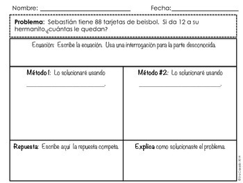 subtraction within 100 word problems 2nd grade math spanish version. Black Bedroom Furniture Sets. Home Design Ideas