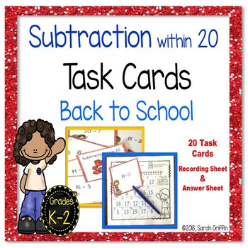 Subtraction within 20 ~ Back to School Math center Task Cards