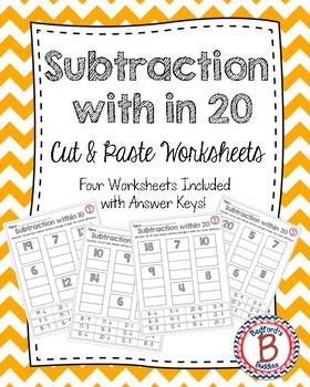 Subtraction within 20 Cut and Paste