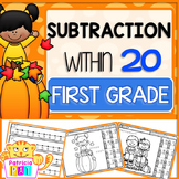Fall Coloring Pages Subtraction Facts Color by Number