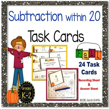 Subtraction within 20 Fall Task Cards Math Center