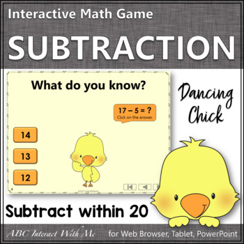 Subtraction within 20 Interactive Math Game {Dancing Chick}