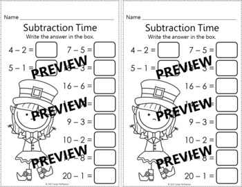 Subtraction within 20 Interactive Math Game {Dancing Leprechaun}