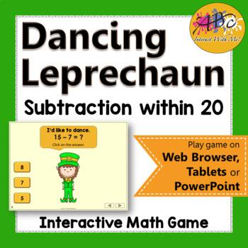 Subtraction within 20 Interactive Math Game {Dancing Leprechaun}