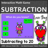 Subtraction within 20 Interactive Math Game {Love Bug}