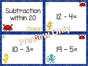 Subtraction within 20~ Ocean Math Center ~ Task Cards