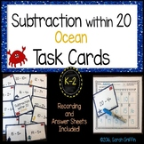 Subtraction from 20 ~ Ocean Math Center ~ Task Cards