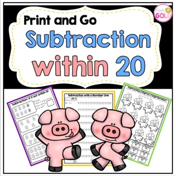 Subtraction within 20- Print and Go!