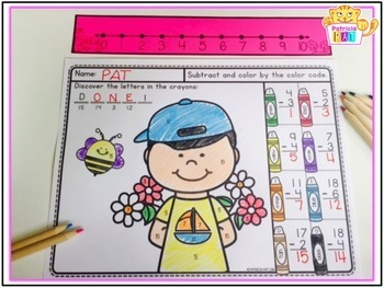 Color by Code Worksheets Subtraction to 20 Spring