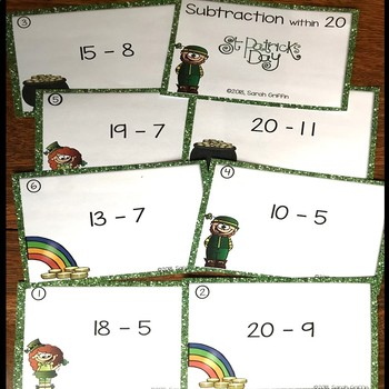 Subtraction within 20 ~ St. Patrick's Day Math Center ~ Task Cards