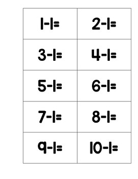 Subtraction within 20 Student Practice Cards