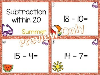 Subtraction within 20 ~ Summer Math Center ~ Task Cards