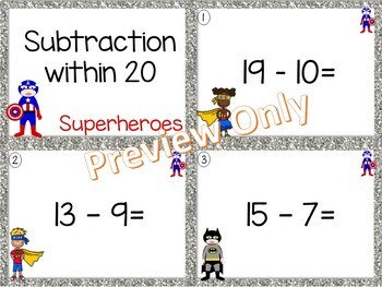 Subtraction within 20 ~ Superhero Math Center ~ Task Cards