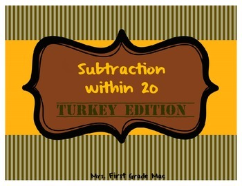 Subtraction within 20 Turkey Edition