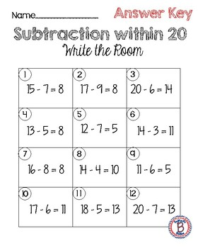 Subtraction within 20 Write the Room