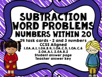 Subtraction within 20 - task cards/SCOOT