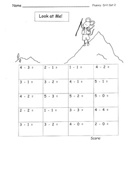 Subtraction within 5 FLUENCY Speed Drills PACK timed tests or practice 15 pgs