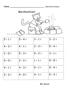 Subtraction within 5 FLUENCY Speed Drills PACK timed tests