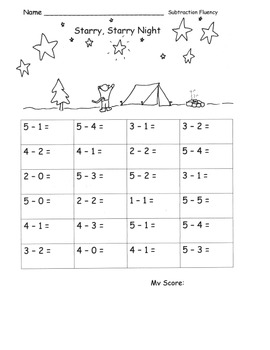 Subtraction within 5 Fluency Speed Drills or Practice Pages CAMPING Theme