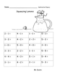Subtraction within 5 Fluency Speed Drills or Practice Pages Lemonade Theme