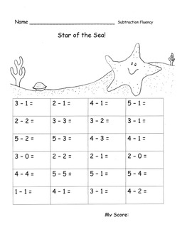 Subtraction within 5 Fluency Speed Drills or Practice Pages OCEAN Theme