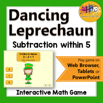 Subtraction within 5 Interactive Math Game {Dancing Leprechaun}