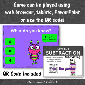 Subtraction within 5 Interactive Math Game {Love Bug}