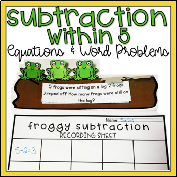 Subtraction within 5 Kindergarten Math Center Leveled/Differentiated