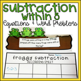Subtraction within 5 Kindergarten Math Center Leveled/Diff