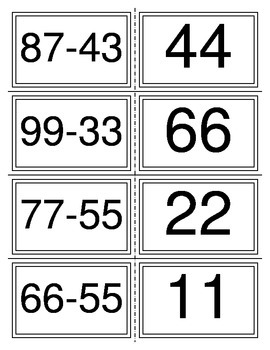 Subtraction without Borrowing Flashcards (32 Cards)