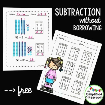 Subtraction without Borrowing -- Using Place Value  {FREEBIE!}