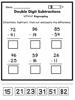 Double Digit Subtraction without Regrouping by Dana's ...