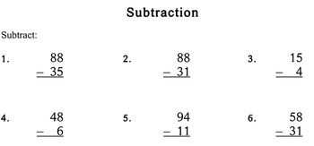 Subtraction without Regrouping, 1st/2nd grade - worksheets - Individualized Math