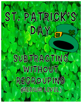 Subtraction without Regrouping (Medium Level) - St. Patrick's Day
