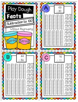 Subtraction without Regrouping Play Dough Task Cards
