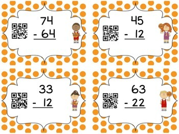 Subtraction without Regrouping QR code Task Cards